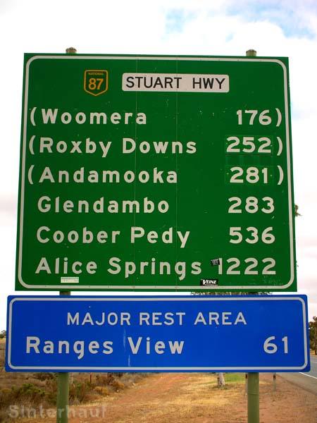 Straßenschild auf dem Stuart HWY