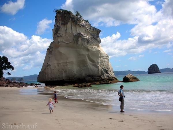 Kalksandsteinfelsen im Meer bei Hahei