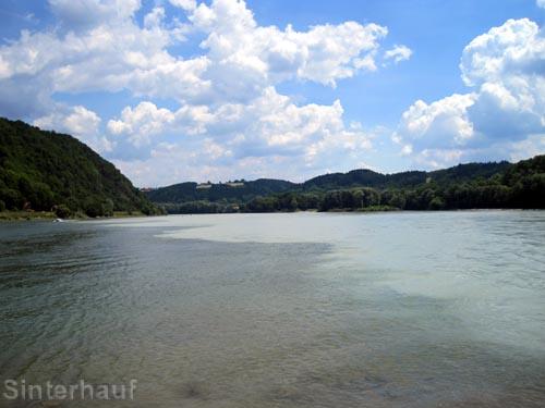 Inn, Ilz und Donau treffen hier aufeinander