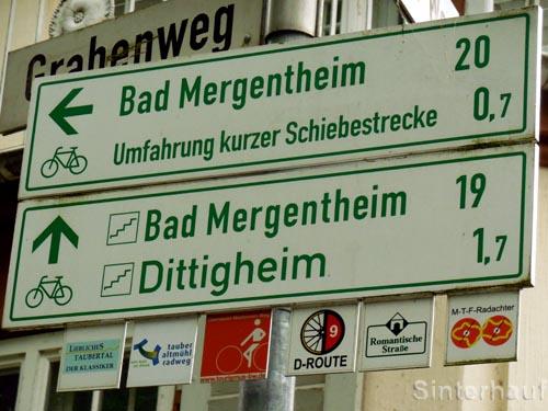 """Wegweiser """"Liebliches Taubertal Radweg"""""""
