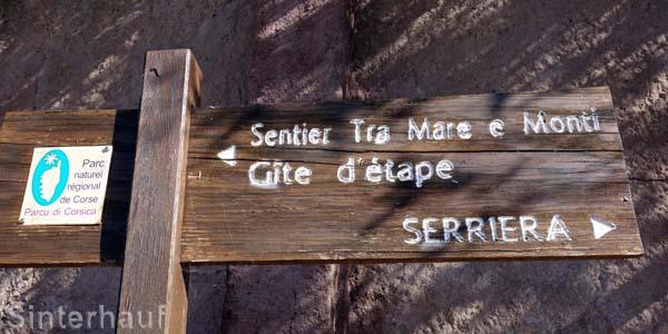 Wegweiser nach Serriera