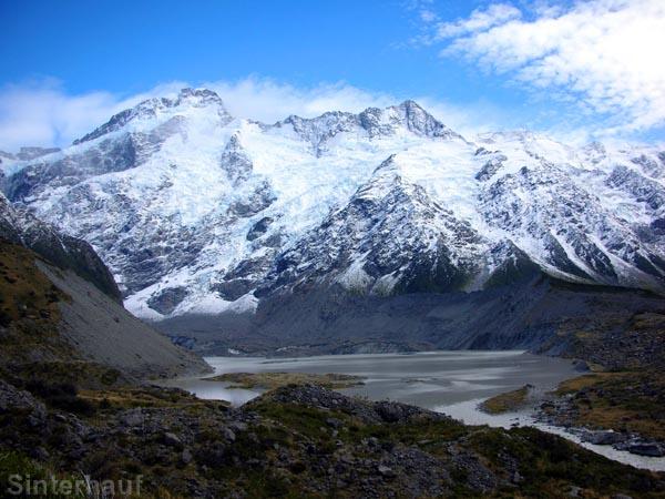 Müller Lake und Gletscher beim Aufstieg zum Kea Point