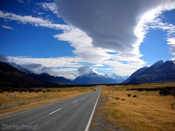 Straße zum Mount Cook