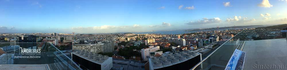 Ausblick von der Dachterrasse des Einkaufscenters Amoreiras über Lissabon